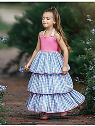 cheap -Kids Girls' Sweet Daily Plaid Lace Sleeveless Maxi Dress Blue