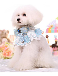 cheap -Dogs Cats Collar Foldable Animal Lace PU Leather / Polyurethane Leather Blue Pink