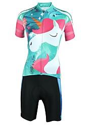 Недорогие -ILPALADINO Жен. С короткими рукавами Велокофты и велошорты Естественно-зеленный Велоспорт Джерси Шорты с защитой Наборы одежды Дышащий Влагоотводящие Виды спорта Лайкра Мода Одежда