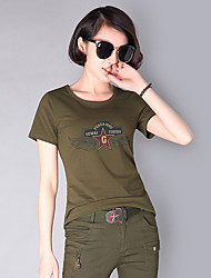 cheap -Women's Camo Hiking Tee shirt Short Sleeve Outdoor Lightweight Breathable Fast Dry Wear Resistance Tee / T-shirt Top Summer Cotton Crew Neck Army Green Camouflage Camping / Hiking Hunting Back Country