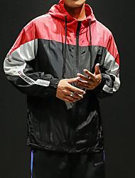 abordables -Homme Zipper avant Vêtement de rue Veste de piste Coupe-vent Col de Cou Course / Running Poids Léger Coupe Vent Résistant aux UV Tenue de sport Grandes Tailles Veste Sweat à capuche Manches Longues