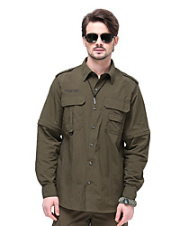 cheap -Men's Hiking Shirt / Button Down Shirts Long Sleeve Outdoor Sunscreen Breathable Quick Dry Wear Resistance Back Venting Design Convert to Short Sleeves Top Autumn / Fall Spring Chinlon Camping