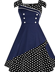 cheap -Fashion Dots Dresses Women's Elegant Sheath Dress - Polka Dot Print U Neck Black Red Navy Blue XXL XXXL XXXXL