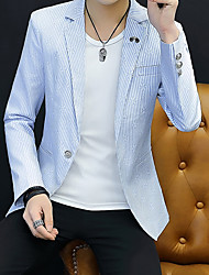 cheap -Men's Blazer, Striped Shirt Collar Polyester Black / Light Green / Light Blue