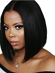 cheap -Human Hair Lace Front Wig Bob Short Bob Side Part style Brazilian Hair Silky Straight Black Wig 130% Density with Baby Hair Natural Hairline For Black Women 100% Virgin 100% Hand Tied Women's Short