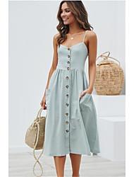 cheap -Women's Strap Dress Midi Dress White Red Yellow Camel Light Blue Sleeveless Solid Colored Spring & Summer Cotton 2021 S M L XL XXL