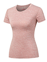 cheap -DZRZVD® Women's Solid Color Hiking Tee shirt Short Sleeve Outdoor Moisture Wicking Fast Dry Wear Resistance Tee / T-shirt Top Spring, Fall, Winter, Summer Nylon Elastane Crew Neck Fuchsia Peach Dark