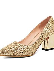 abordables -Femme Polyuréthane Printemps été British / Minimalisme Chaussures de mariage Talon Bottier Bout pointu Paillette Dorée / Argent / Rouge / Mariage / Soirée & Evénement