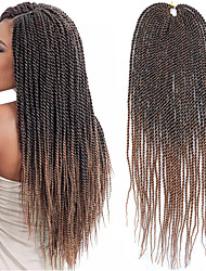 cheap -Braiding Hair Straight Twist Braids Crochet Hair Braids 100% kanekalon hair 30 roots / pack Hair Braids Dark Brown Gray 22 inch 22 inch Synthetic Curler & straightener Crochet Braids Daily Wear