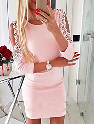 cheap -Women's Lace Red Blushing Pink Dress Casual Going out Bodycon Solid Colored Lace up Hollow Out S M