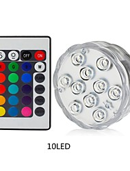 cheap -1pc 10leds RGB Led Underwater Light Pond Submersible Waterproof Swimming Pool Light Battery Operated for Wedding Party