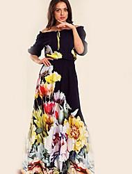 cheap -Women's 2020 Maxi Navy Blue Dress Basic Spring & Summer Swing Floral Off Shoulder Print S M Slim