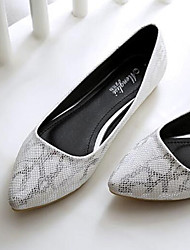 cheap -Women's Faux Leather / Snakeskin Summer Casual Flats Flat Heel Pointed Toe White