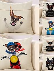 Недорогие -6 штук Хлопок / Лён Наволочка Наволочки, С собакой 3D-печати Животное Квадрат Высокое качество