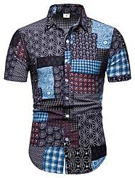 cheap -Men's Plus Size Tribal Slim Shirt Street chic Daily Beach Classic Collar Black / Short Sleeve