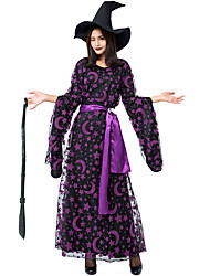 cheap -Witch Dress Cosplay Costume Hat Adults' Women's Dresses Halloween Halloween Carnival Masquerade Festival / Holiday Tulle Polyster Purple Carnival Costumes Printing
