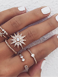 cheap -Ring Fancy Gold Acrylic Alloy Moon Flower Star Unusual Unique Design Romantic 6pcs 5 7 / Women's / Ring Set