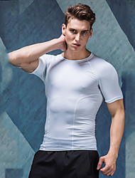 cheap -Men's Compression Shirt Short Sleeve Compression Base Layer T Shirt Top Lightweight Breathable Quick Dry Soft Sweat-wicking Dark Grey White Road Bike Fitness Mountain Bike MTB Stretchy