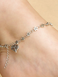 cheap -Women's Ankle Bracelet Heart Hollow Heart Simple Hotwife Anklet Jewelry Silver For Daily