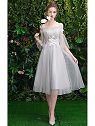 cheap -Sheath / Column Off Shoulder Medium Length Tulle Bridesmaid Dress with Pleats