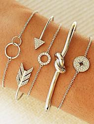 cheap -5pcs Women's Chain Bracelet Cuff Bracelet Layered Love knot Coin Twist Circle Knot Trendy Korean Imitation Diamond Bracelet Jewelry Silver / Gold For Party Daily