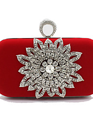 cheap -Women's Crystals Velvet Clutch Floral Print Black / Red / Fall & Winter