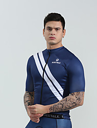 cheap -BOESTALK Men's Short Sleeve Cycling Jersey Sky Blue Blue Dark Blue Stripes Bike Shirt Jersey Compression Clothing Mountain Bike MTB Road Bike Cycling Moisture Wicking Back Pocket Sports Jersey Milk
