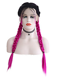 cheap -Synthetic Lace Front Wig Matte Middle Part Lace Front Wig Ombre Long Black / Rose Synthetic Hair 24 inch Women's Adjustable Heat Resistant Women Rose Pink Ombre / Ombre Hair