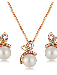 cheap -Women's White Pearl Pendant Necklace Earrings Stylish Artistic Unique Design Rose Gold Plated Imitation Diamond Earrings Jewelry White For Party Daily Formal 3pcs