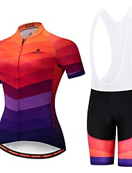 cheap -Miloto Women's Short Sleeve Cycling Jersey with Bib Shorts Orange+White Black / Orange Bike Padded Shorts / Chamois Clothing Suit Breathable 3D Pad Moisture Wicking Reflective Strips Sports Lycra