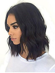 cheap -Human Hair Lace Front Wig Bob Short Bob style Brazilian Hair Wavy Black Wig 130% Density with Baby Hair Natural Hairline For Black Women 100% Virgin 100% Hand Tied Women's Short Human Hair Lace Wig
