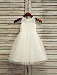 cheap -A-Line Tea Length Flower Girl Dress - Lace / Satin / Tulle Sleeveless Jewel Neck with Solid / First Communion