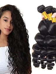 cheap -4 Bundles Indian Hair Loose Wave Human Hair Unprocessed Human Hair Gifts Cosplay Suits Natural Color Hair Weaves / Hair Bulk 8-28 inch Natural Color Human Hair Weaves Cosplay Best Quality Hot Sale