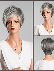 cheap -Human Hair Capless Wigs Human Hair Natural Straight Pixie Cut / Short Hairstyles 2019 Fashionable Design / Soft / Cool Dark Gray / Multi-color Short Capless Wig Women's / Natural Hairline