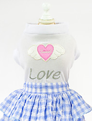 cheap -Dog Cat Pets Dress Ornaments Puppy Clothes Plaid / Check Love Slogan Casual / Daily Cute Dog Clothes Puppy Clothes Dog Outfits Blue Pink Costume for Girl and Boy Dog Cotton Fabric Cotton Jacquard