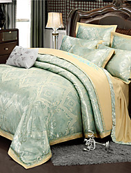 cheap -Duvet Cover Sets Luxury / Contemporary Silk / Cotton Blend Jacquard 4 PieceBedding Sets / 300 / 4pcs (1 Duvet Cover, 1 Flat Sheet, 2 Shams)