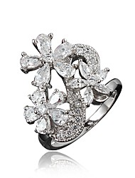 cheap -Women's Ring Engagement Ring Cubic Zirconia 1pc Gold Silver 18K Gold Plated Imitation Diamond Stylish Luxury Romantic Party Engagement Jewelry Classic Flower Lovely