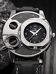 Недорогие -Муж. Спортивные часы Кварцевый Кожа Черный Ударопрочный Cool Аналоговый Мода Скелет маскарадный - Черный Один год Срок службы батареи