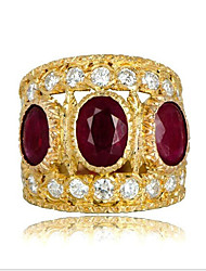 cheap -Women's Ring thumb ring Cubic Zirconia Garnet 1pc Gold Gold Plated Round Asian Fashion Party Daily Jewelry Classic Cool