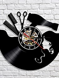 cheap -Comb scissors hair dryer beauty salon wall clock hairdresser vinyl record