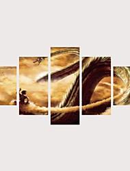 cheap -Print Rolled Canvas Prints Stretched Canvas Prints - Fantasy Cartoon Comtemporary Modern Five Panels Art Prints