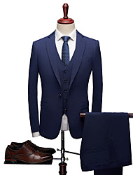 cheap -Deep Blue Solid Colored Tailored Fit Polyester Suit - Notch Single Breasted One-button / Suits