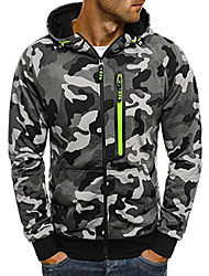 cheap -Men's Hoodie Hiking Jacket Outdoor Camo Thermal / Warm Quick Dry Sweat-wicking Comfortable Jacket Top Single Slider Camping / Hiking Climbing Outdoor Exercise Green / Grey