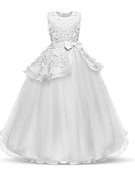 cheap -Princess Long Length Wedding / First Communion Flower Girl Dresses - Chiffon / Satin / Tulle Sleeveless Jewel Neck with Bow(s) / Tier / Appliques