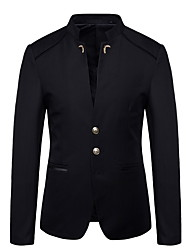 cheap -Men's Plus Size Blazer Stand Polyester Black / Wine / Navy Blue / Slim