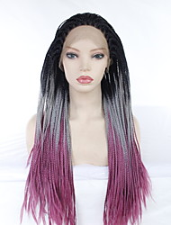 cheap -Synthetic Lace Front Wig Straight Plaited Middle Part Lace Front Wig Long Black / Purple Synthetic Hair 24 inch Women's Party Synthetic Easy dressing Black Purple