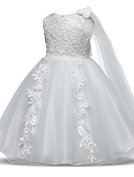 cheap -Princess Long Length Wedding / First Communion Flower Girl Dresses - Tulle Sleeveless Jewel Neck with Lace / Bow(s) / Appliques