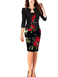 cheap -Women's Black Dress Elegant Bodycon Floral Stand M L Slim