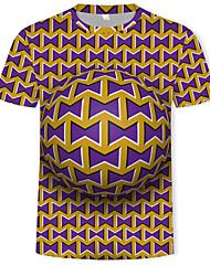 cheap -Men's Daily Club Street chic / Punk & Gothic T-shirt - Geometric / Color Block / Graphic Print Purple