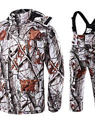 cheap -Men's Hunting Jacket with Pants Outdoor Fleece Lining Warm Anti-Wear Thick Spring Fall Camo Clothing Suit Cotton 100% Polyester Hunting Fishing Camping / Hiking / Caving Camouflage